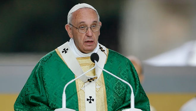 Pope Francis delivers a homily while celebrating Mass on Sept. 27, 2015, in Philadelphia.