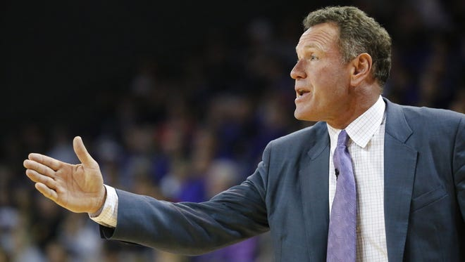 GCU head coach Dan Majerle against the Cal Poly Mustangs during the second half, Wednesday, Dec. 28, 2016 in Phoenix Ariz.
