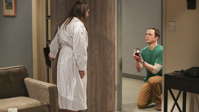 Sheldon (right, Jim Parsons) proposed to Amy (Mayim Bialik) in the May's season finale of 'Big Bang Theory.'