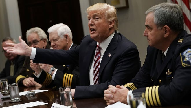 President Trump speaks during a meeting with the National Sheriffs Association in the Roosevelt Room of the White House Tuesday.