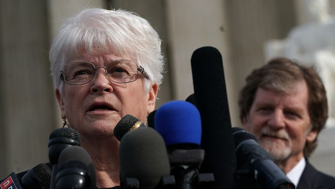 Washington state florist Barronelle Stutzman came to the Supreme Court in December to support Colorado baker Jack Phillips, right, who refused to create a wedding cake for a same-sex couple.