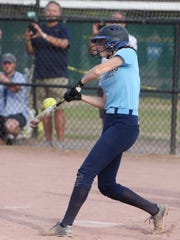 Pine Plains' Haley Strang, a three-time Journal All-Star, was photographed taking a swing during the state Class C final against Chautauqua Lake on June 9, 2018.