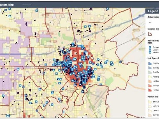 A web map prototype  showing vacant properties (blue boxes), adjudicated properties (black dots) and crime hotspots (red and orange)   for several parishes in Lafayette
