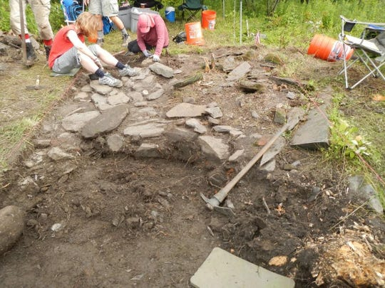 Digging at the site of the Greensboro blockhouse in 2015.