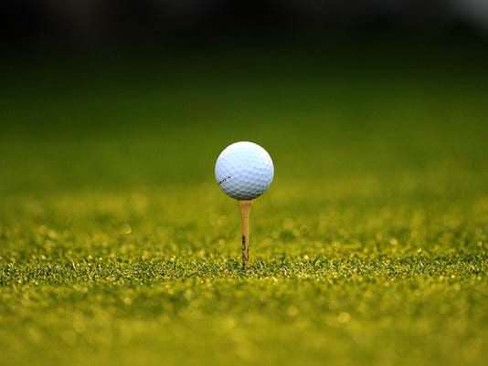 A ball sits on a tee during the second r