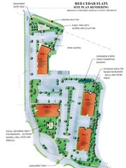 This sketch shows where the Red Cedar Flats' four buildings will located when the Meridian Township student-housing project is completed.