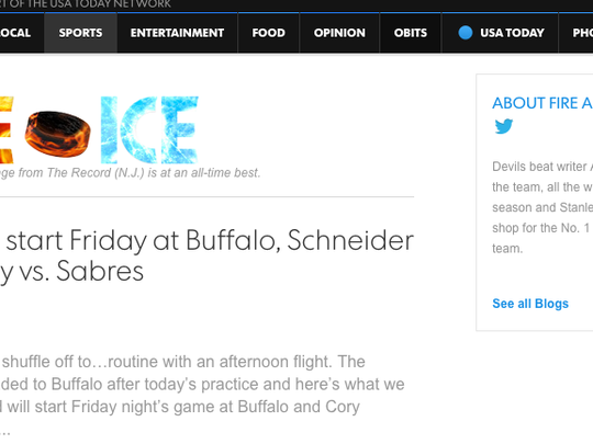 Fire and Ice, the Devils blog, can be found through the quick links on the Sports front.