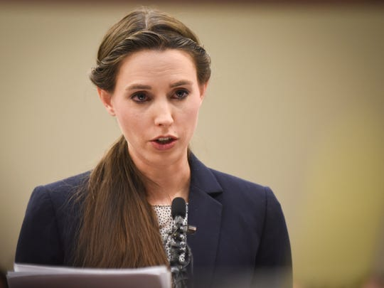 """Was it the right way or the wrong way,"" Rachael Denhollander says as she addresses Circuit Judge Rosemarie Aquilina about Michigan State University's response to allegations of sexual abuse, Wednesday, Jan. 24, 2018, during the sixth day of victim impact statements in Ingham County Circuit Court.   Nassar is expected to be sentenced on seven sexual assault charges today."