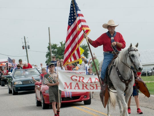 Cowboy rider Bruce Brannen helped lead the Independence Day parade Saturday. A large crowd gathered to watch the Pike Road Community and Civic Club 4th of July Parade on Saturday morning, July 4, 2015.