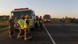 A school bus arrives to transport victims to a Red Cross shelter in Orland, Calif., after a charter bus carrying high school students, a FedEx truck and a Nissan Altima crashed on Interstate 5 killing at least nine people Thursday, April 10, 2014, near Orland. Authorities said it is not yet clear what caused the crash but that it involved a tour bus, a FedEx truck and a Nissan Altima.