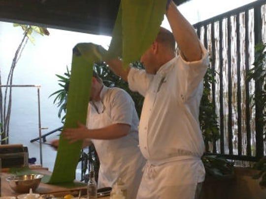 Osceola Bistro Chef Christopher Bireley (right)  and  Sous Chef Dan Toffey make pasta.