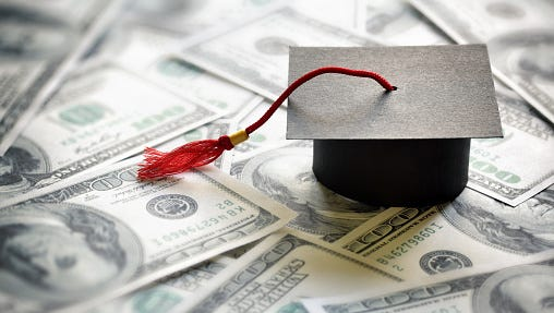 Stock image illustrating the cost of education.