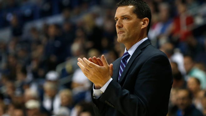 Northern Iowa Panthers coach Ben Jacobson reacts during the first half against the Xavier Musketeers at the Cintas Center in Cincinnati, Ohio, on Nov. 26, 2016.