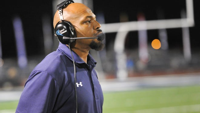 Kevin Faulk on the sidelines as the St Thomas More Cougars take on the Carencro Bears. October 14, 2016.