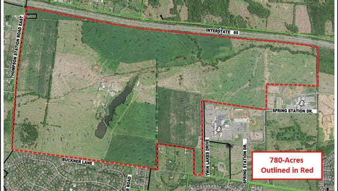 A aerial photo showing boundaries of the 780-acre site in northeast Spring Hill.