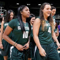 Jasmine Hines (4) and Branndais Agee (10) are both back on the court for the MSU women's basketball team after missing time with injuries a year ago.