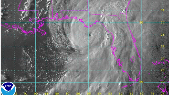 A satellite image of Hurricane Hermine approaching the coast.