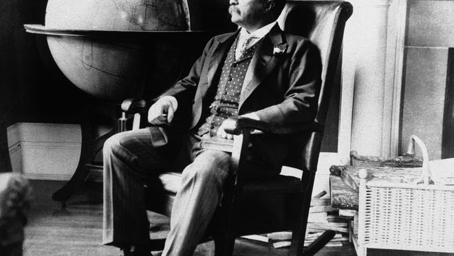 President Theodore Roosevelt pictured in his office at the White House on Dec. 8, 1908, in Washington.