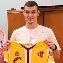 Nick vonEgypt poses with his Philadelphia Fury jersey.
