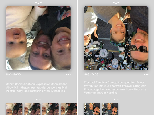 Here are two examples of glitches with the Lisa app. After analyzing my selfies, the app flipped the photos.