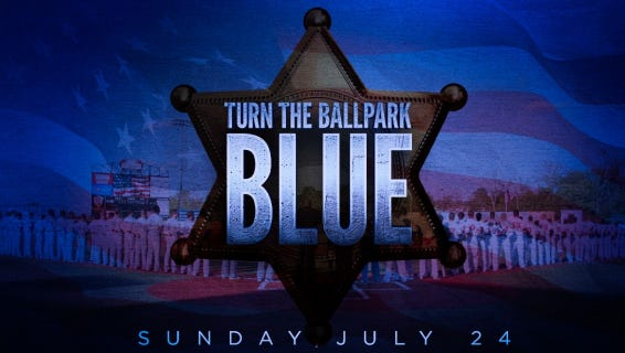 """""""Turn the Ballpark Blue"""" at the July 24 Florence Freedom game in honor of the slain Dallas and Baton Rouge police."""