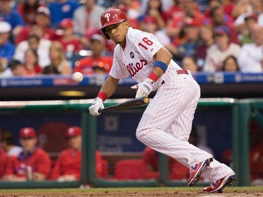 Cesar Hernandez, at age 25, has been playing second base since Chase Utley went on the disabled list June 24. He is 17 for 37 at the plate, a .459 batting average.
