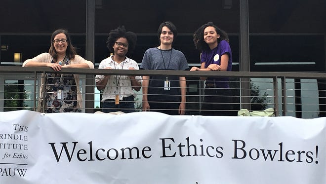 The Poughkeepsie High School Ethics Bowl team at the Prindle Center for Ethics. From left: teacher and coach Shanna Andrawis, Lamoya Brown, Victor Martinez and Jasmine Garvin.