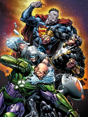 Villains such as (clockwise from top) Bizarro, Black Adam, Black Manta, Lex Luthor and Captain Cold take the spotlight in 'Forever Evil.'