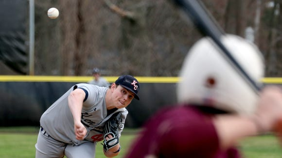 Jamie Silverberg of Kennedy Catholic pitched into the ninth inning of an extra inning game as Kennedy defeated Iona Prep 2-1 in nine innings at Iona Prep April 24, 2018.