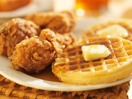 fried chicken and waffles close up
