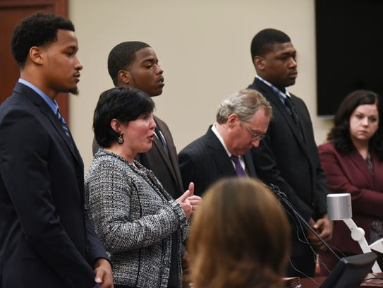 Attorney Mary Chartier, second from left, speaks on behalf of her client, former MSU football player Demetric Vance in Ingham County Circuit Court Judge Rosemarie Aquilina's courtroom Wednesday, June 6, 2018. Also pictured are Donnie Corley, John Shea, Shannon Smith and Josh King.