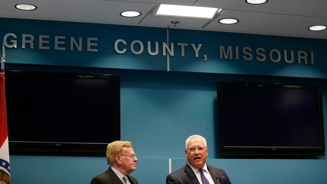 Springfield Mayor Ken McClure and Greene County Presiding Commissioner Bob Cirtin speak at a press conference announcing the city and county have reached an agreement on the jail dispute on Friday, July 28, 2017.