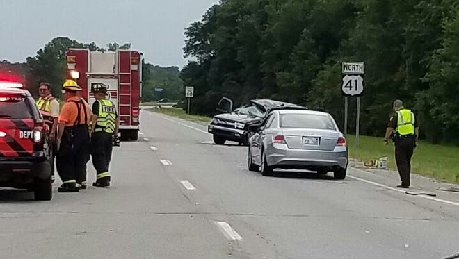 Scene of a wreck on U.S. 41 and Hillsdale Road Sunday in Evansville