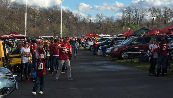 Fans tailgate and prepare for the game Washington Redskins