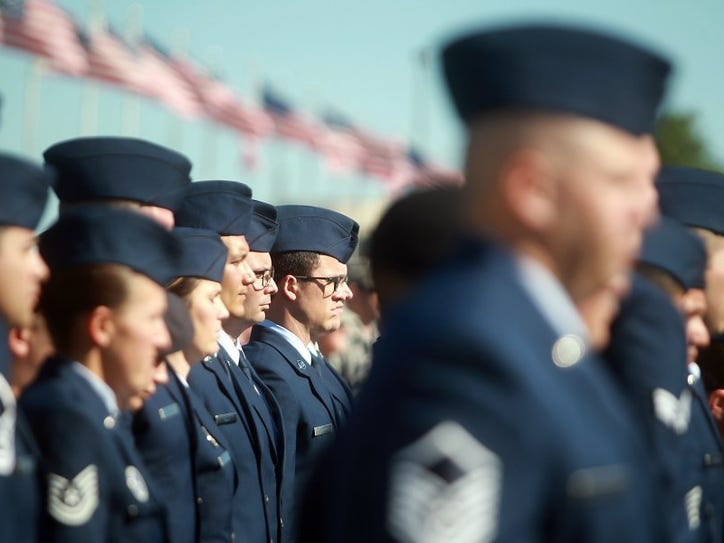 Michelle Gaitan/Standard-Times Graduates from the Community College of the Air Force stand in attention during their commencement ceremony at the Goodfellow Air Force Base's parade grounds Wednesday.