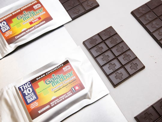 Some of the medicinal edibles from Gaia Bounty Inc. on Friday, June 24, 2016. In addition to medicinal products with CBD, Gaia also makes medicinal chocolate bars with THC and recreational edibles.