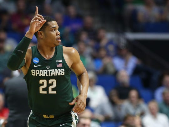 Kevin Jairaj/USA TODAY Sports  Spartans guard Miles Bridges reacts during the first half against the Miami Hurricanes in the first round on Friday. Mar 17, 2017; Tulsa, OK, USA; Michigan State Spartans guard Miles Bridges (22) reacts during the first half against the Miami Hurricanes in the first round of the 2017 NCAA Tournament at BOK Center. Mandatory Credit: Kevin Jairaj-USA TODAY Sports