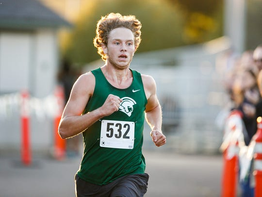 West Salem's Brennen LeBel approaches the finish line