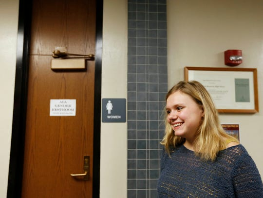 Junior Zoey Wagner, 17, stands next t the newly designated