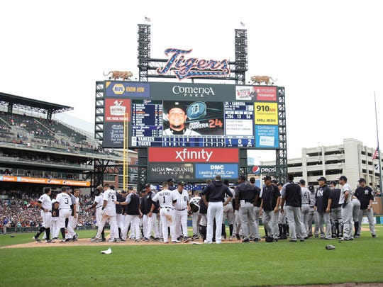 Benches clear in the seventh inning during a game between the New York Yankees and Detroit Tigers at Comerica Park on August 24, 2017 in Detroit, Michigan.