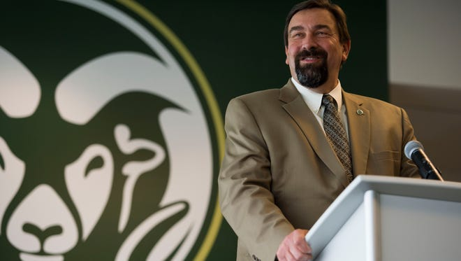 CSU president Tony Frank speaks at a press conference announcing CSU's stadium naming rights partnership with the Public Service Credit Union on Thursday, April 19, 2018, at Colorado State University's stadium in Fort Collins, Colo.