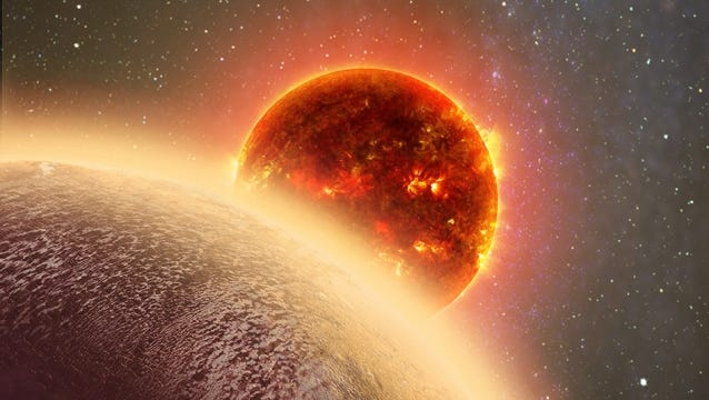 In this artist's rendering of GJ 1132b, a rocky exoplanet very similar to Earth in size and mass, circles a red dwarf star.