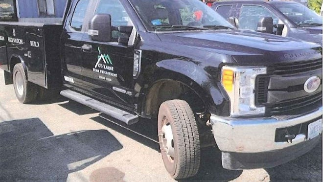 The Dighton Police Department is seeking the public's help in locating this Ford F-350 utility truck that was stolen from North Country Auctions Monday night.