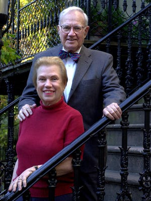 Emma and Lee Adler in front of their house on Bull Street.