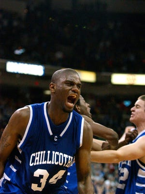 Chillicothe's Ray Chambers celebrates after making the winning shot in overtime to win the Division II championship against Toledo Libbey on March 15, 2008, at Ohio State's Value City Arena.