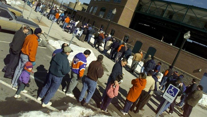 Hundreds of fans wait in this March 1999 photo for the chance to buy tickets to the Red Wing-Orioles exhibition game that was to be played on June 28, 1999. Fans waited for hours to get tickets, with the earliest person showing up around 5 a.m.