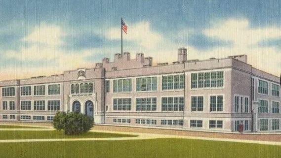 This postcard shows William Penn Senior High School in York.