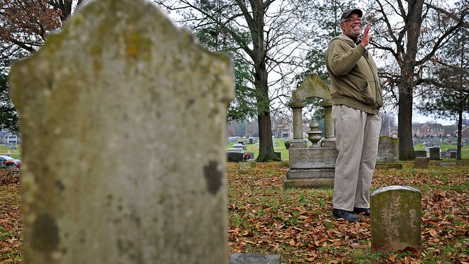 Tom Murdic talks about the headstones that he remembers his grandmother telling him about at Toussaint L'Ouverture Cemetery in Franklin.