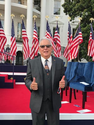 James Zecca in front of the stage on the White House south-lawn. Zecca was invited to attend President Trump's acceptance speech as Republican nominee on Thursday, July 27.