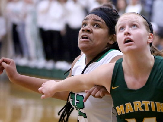 Dominicans's Sydney Joys (left) battles Martin Luther's